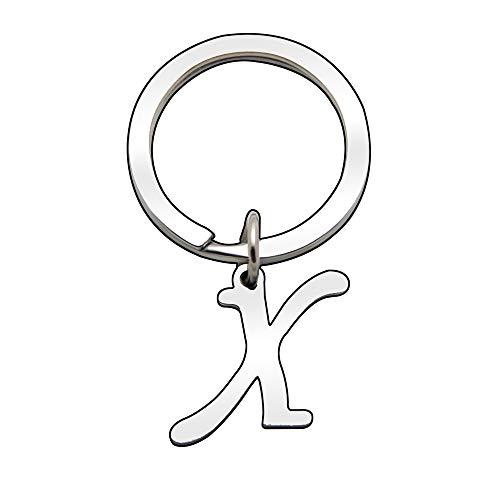 Llavero personalizado con letra del alfabeto de plata para mujer y hombre