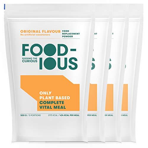 FOODIOUS Original Eiweißpulver-100% Vegan-Ideal als Mahlzeitersatz oder Diät Shake-Only 2g of Sugars per Meal-Frühstückspulver 4 Pack x 500g=20 Mahlzeiten-Premium Zutaten-Low in Zucker Protein Pulver