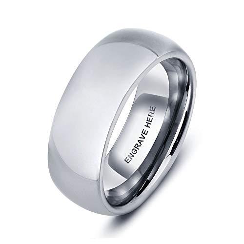 Grand Made Silber 8mm Wolfram Stahl Personalisierte Ringe Damen Herren für Männer Frauen Bandring Ehering Trauringe Weihnachten Hochzeit Engagement Geschenk (Silver, 60 (19.1))