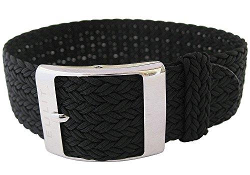 Eulit Palma Bracelet de montre en nylon tressé 20 mm Noir