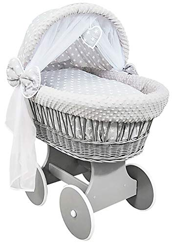 Hooded Wicker Wheel Grey Moses Basket Baby Full Bedding Set Canopy Dimple White Stars with Grey