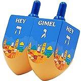 Let's Play Dreidel The Hanukkah Game Extra Large Jerusalem Wood Dreidels - Instructions Included! (2-Pack)