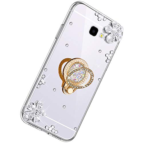 Why Choose Herbests Compatible with Samsung Galaxy A7 2017 Glitter Case Mirror Makeup Case Luxury Crystal Rhinestone Diamond Bling Soft Silicone Rubber TPU Protective Cover with Ring Stand Holder,Silver