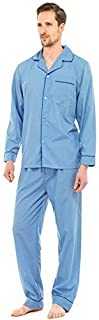Mens Plain Poly Cotton Traditional Pyjamas Set Pjs Top & Bottoms With Contrast Piping (XXL, Mid Blue)