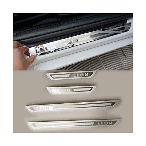 XMSM Acero Inoxidable Coche Pedal Retroceso Placas Placa Protectora para Seat Leon MK2 MK3 2009-2020 travesaño Puerta Protector Etiqueta engomada Umbral Cubierta protección Accesorios Coche