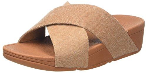 Fitflop Lulu Cross Slide Sandals-Shimmer Femme, Beige Denim Scintillant, 40 EU