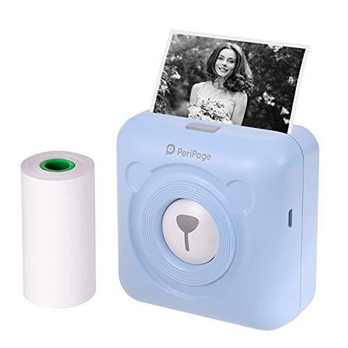 Aibecy PeriPage Mini Fotodrucker Wireless BT Thermodrucker Picture Label Memo Receipt Drucker mit USB-Kabel für Android iOS Smartphone Windows (Blau)