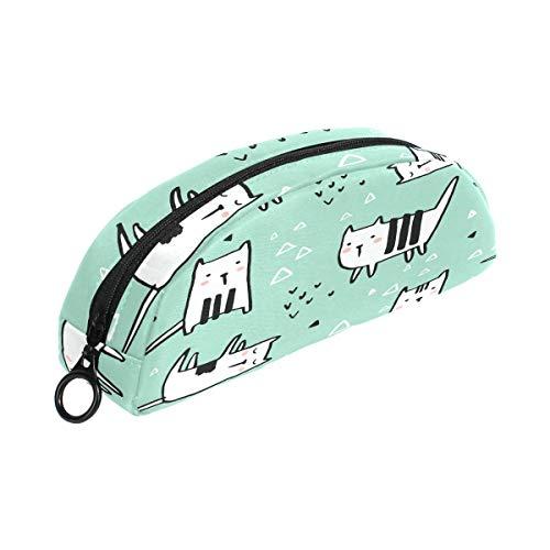 Childish Kawaii Cats Estuche para lápices Estuche para papelería Bolso pequeño para maquillaje cosmético con cremallera