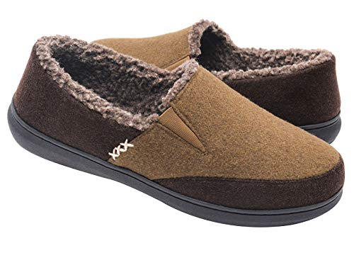 Zigzagger Men's Closed-Back Wool-Like Blend Elastic Inserts Moccasin Slippers Indoor-Outdoor House Shoes, Light Tan US 10