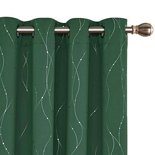 Deconovo Blackout Green Curtains Grommet Top Drapes Wave Line and Dots Foil Printed Window Curtains for Living Room 52 x 72 Inch Dark Forest 2 Panels