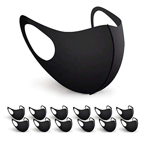 BartZart Shabo 12er Staubschutzmasken aus EIS Seide I waschbar und wiederverwendbar I Face Mask Black I Flexible Mundschutzmaske I Nasenschutzmaske I Motorrad Maske I Staubmaske (12 Stück)