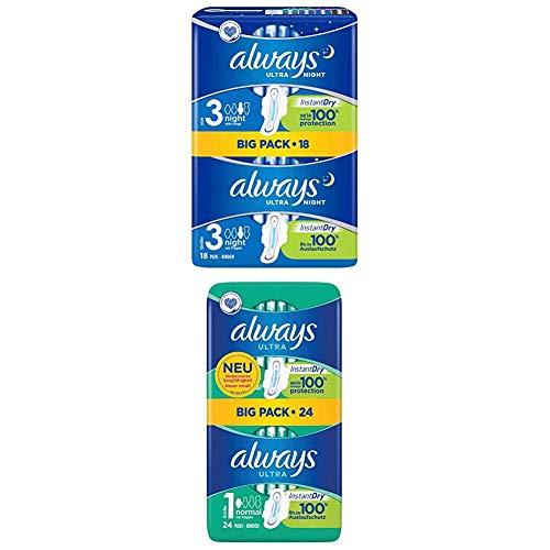Always Ultra Night Binden (Größe3) mit Flügeln (2er Pack) + Ultra Normal Binden (Größe1) (1er Pack)