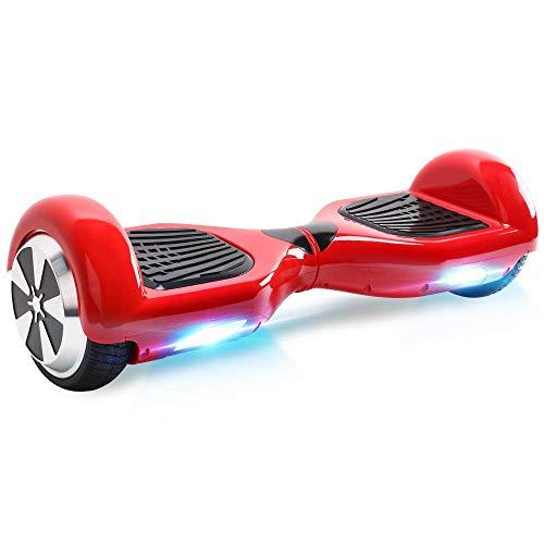 Windgoo N1 Overboard Hoverboard, 6.5 Pulgadas 250W 2WD Glyboard, Actualiza con Luz LED, Regalo para Niño Adulto (Red-Bluetooth)