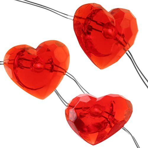 Szxc Heart Shaped String Lights 10 FT 40 LEDs 12 Modes 8 Speeds with Remote Timer - Battery Operated - Copper Wire - Waterproof - Valentine Day Indoor Outdoor Decorations for Bedroom Party Wedding