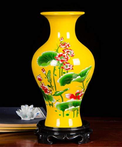 Jingdezhen Keramische Gourd Geel Lotus vaas Bloem Arrangement Woonkamer Wijnkast Decoratie Ambachten Ornament Trompet