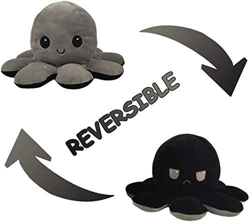 ADJU Muñeca Flip Octopus de Doble Cara, Lindo Pulpo Reversible Peluches Pulpo Reversible Peluches Muñeca niños, Familiares, Amigos