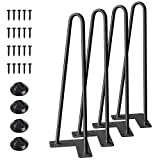 SMARTSTANDARD 16 Inch Heavy Duty Hairpin Furniture Legs, Metal Home DIY Projects for Nightstand, Coffee Table, Desk, etc with Rubber Floor Protectors Black 4PCS