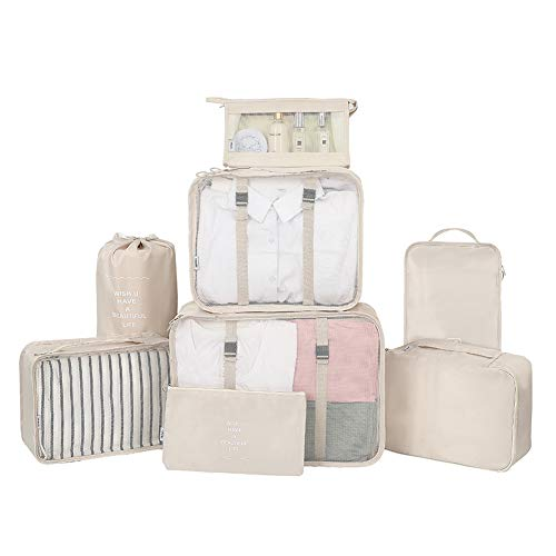 Belsmi - Juego de 8 cubos de embalaje con bolsa para zapatos, organizador de equipaje de viaje de compresión (beige)
