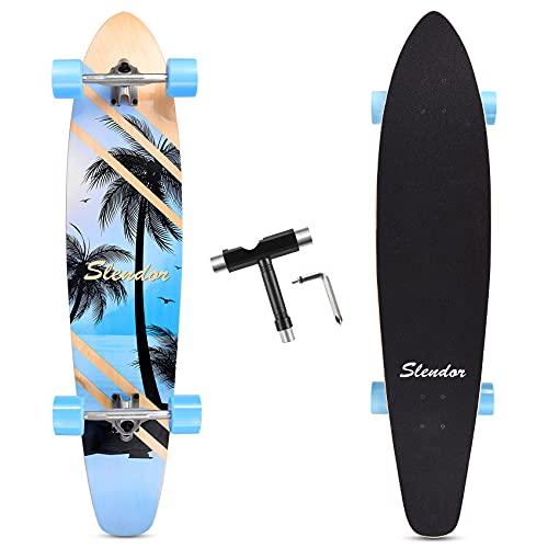 Slendor 42 Inch Longboard Skateboard Complete Cruiser Pintail, Drop Through Deck Skateboardfor Cruising, Carving, Downhill(Coconut Tree)