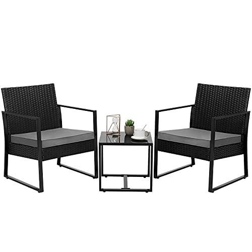 Rattan Gartenmöbel-Set, Balkonset Sitzgruppe Rattanset 3 Teilig, Bequemes Kissen,Glastisch & 2 Armsessel für den Außenbereich, für den Außenbereich, Garten, Terrasse (Schwarz)