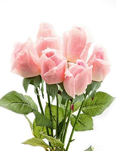 CCUCKY 6 Piezas Artificial Rosa, Flores de Seda de Tacto Real con Hojas Verdes, Bodas, Aniversario, Hogar, Oficina, Becoración, Bricolaje (Rosa)