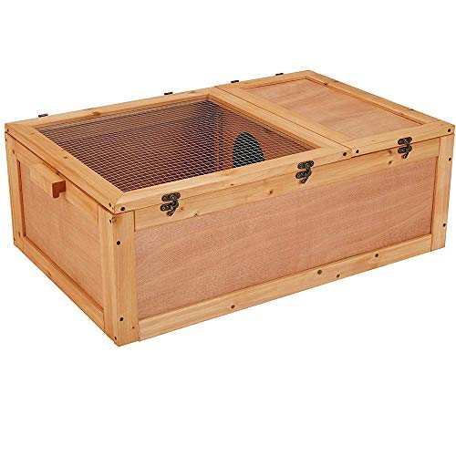 unipaws Chinese Fir Wood Tortoise House, Turtle Habitat with Separate Table Stand for Small Animals, Torts Enclosure, Anti-Corrosion and Moisture Proof, Indoor and Outdoor Use Cage with Handle