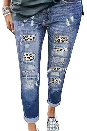 Uusollecy Damen Jeans, Leopard Patch Rissen Löcher Ankle Jeanshosen, Slim Fit Destroyed Jeans Ripped Boyfriend Denim Hosen Für Frauen Teen Girls Blau XL