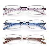 3 Pack Rimless Reading Glasses for Women Blue Light Blocking Readers Tinted Edge Spring Hinge Pattern Print Arm Eyeglasses Mix 3.00