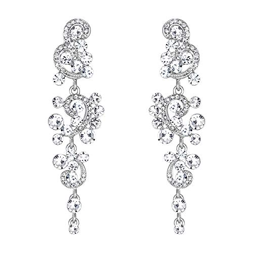 Clearine Wedding Bridal Clip On Earrings for Women Bohemian Boho Crystal Floral Vine Chandelier Hollow Dangle Earrings Clear Silver-Tone