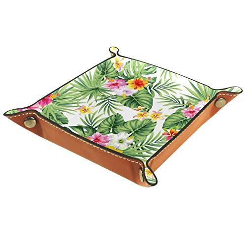 XiangHeFu Flor de Hoja de Palma Hawaiana Monedero con Cambio de Llave Caja de Almacenamiento de Cuero Catchall Organizador de Escritorio pequeño Bandeja de Valet