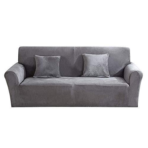 Windyeu Sofabezug 2 Sitzer Grau mit Armlehnen Plüsch Flauschig und Warm für Ecksofa Ohrensessel im Winter Eleganter und Moderner Sofaüberwurf Sesselbezug (2 Sitzer, Grau)