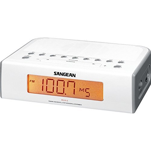 Sangean Compact AM/FM Dual Alarm Clock Radio with Large Easy to Read Backlit LED Display Plus 6ft Aux Cable to Connect Any Ipod, Iphone or Mp3 Digital Audio Player