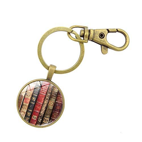 Youkara Schlüsselanhänger Retro Bücher Muster Schlüsselanhänger Auto Schlüsselanhänger für Damen Mädchen Dekoration 9,2 x 2,5 cm, stil 1