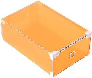 shunxinersty 靴収納 引き出しタイプ 半透明収納 靴箱 引き出し クローゼット 収納オーガナイザー プラスチック オレンジ L