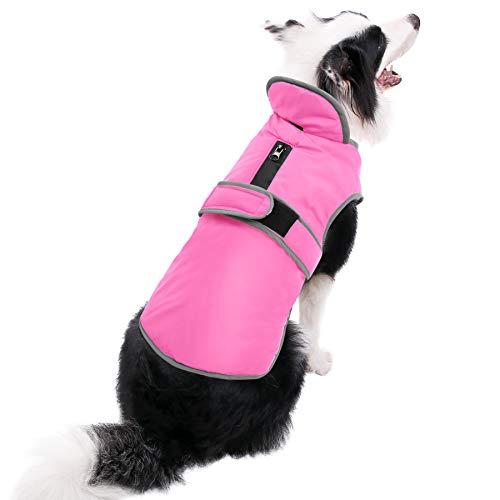 MIGOHI Reflective Waterproof Windproof Dog Coat Cold Weather Warm Dog Jacket Reversible Stormguard Winter Dog Vest for Small Medium Large Dogs(Pink, M)