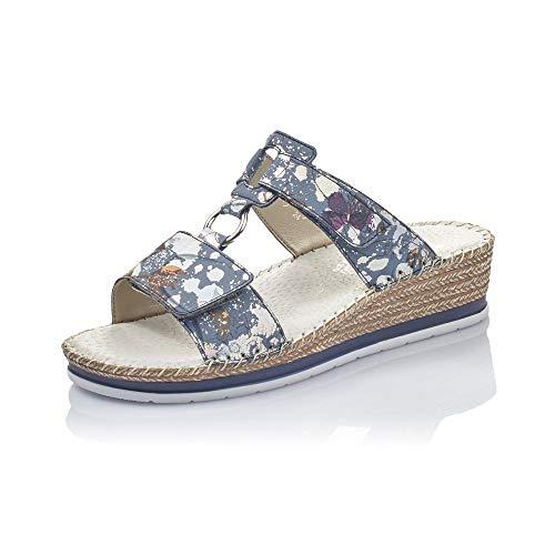 Rieker Femme Mules et Sabots V6095, Dame Mules,Pantoufle,Sandale,Chaussure d'été,Chaussure décontractée,Jeans-Multi,37 EU / 4 UK