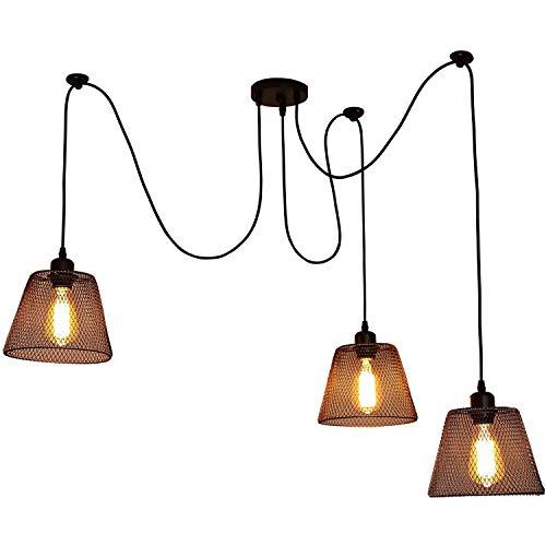 IBEST Vintage Industrielle Pendelleuchte Modern Rund Hängeleuchte Metall Eisen Deckenleuchte Schwenkbar Verstellbar Beleuchtung für Flur Keller Wohnzimmer Esszimmer Schlafzimmer Loft E27 Lampe