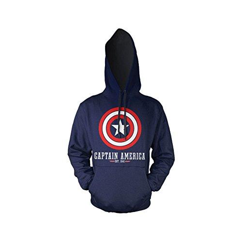 Captain America Logo Hoodie (Bleu Marine), Large