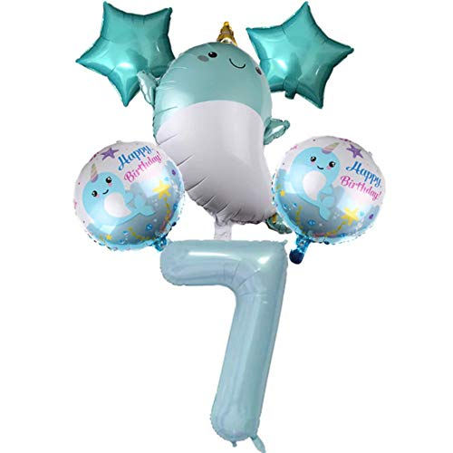 DIWULI, juego de globos de ballena grande, globo número 7 azul XXL, globo de papel de aluminio, globo estrella 7º cumpleaños niño niña, decoración, juego de globos, mar, animal marino, animal, fiesta