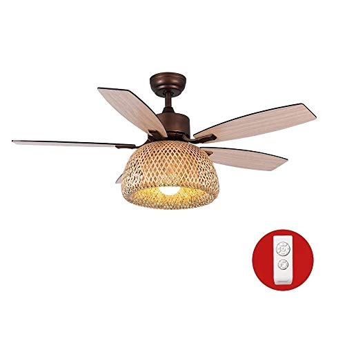 COCNI Hecho a mano bambú tejido Pantalla Ventilador techo 48 pulgadas ventilador LED la lámpara con la luz del mando a distancia 3 la velocidad del viento ajuste silenciamiento del motor E27 luz de te