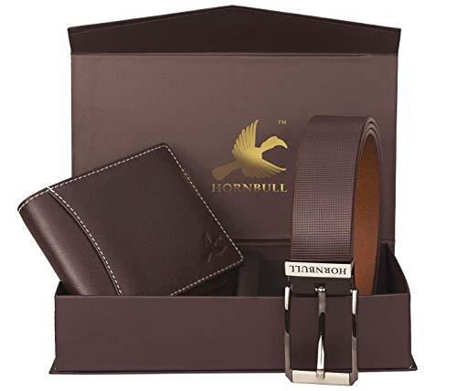 Hornbull Gift Hamper for Men | Brown Wallet and Brown Belt Men's Combo Gift Set | Leather Wallets for Men | Men's Wallet