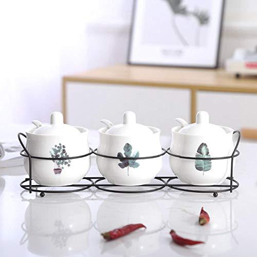 Keuken Kruiden pot_Keuken Kruidenpot Keramische Europese Olie Suiker Zout blikjes Kruiden Combinatie Huishouden@Banaan Blad + Esdoorn Blad + Geld Gras [met IJzeren Frame]