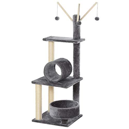 PawHut 121cm Plush Cat Tree Tower Sisal Scratching Post Pet Activity Center...