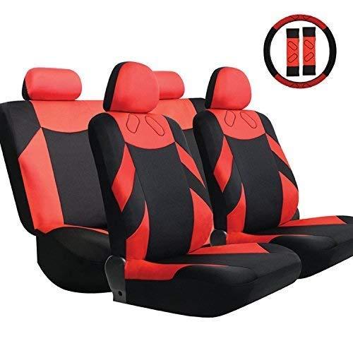 lquide 13 Stücke Universal Auto Sitzbezug Airbag Kompatibel Für Auto Liefert Für Limousine Fließheck SUV Saugfähig, rutschfest, Waschbar Schwarz Und Rot