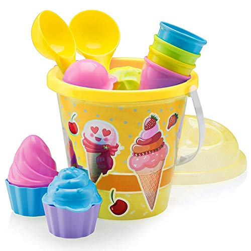 Top Race Beach Toys, Sand Toys, 16 Piece Ice Cream Mold Set for Kids 3-10 with Large 9' Beach Toy Bucket Pail for Kids and Toddlers (Ice Cream)