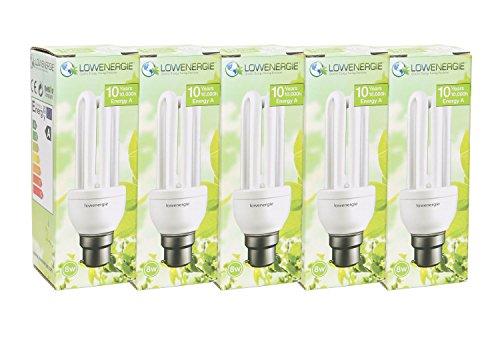Lot de 5–8W (= 40W) ampoules à économie d'énergie CFL, B22B22d BC à baïonnette, Stick, 10ans en Lowenergie
