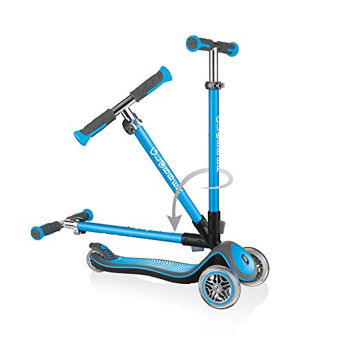 Globber Elite Deluxe Anodised T-Bar Foldable Scooter Sky Blue
