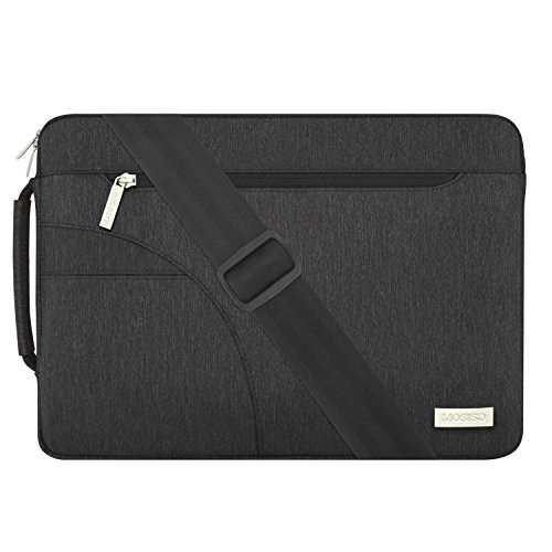 MOSISO Laptop Shoulder Bag Compatible with 15 inch MacBook Pro Touch Bar A1990 A1707 2019 2018 2017 2016, 14 inch Notebook Computer, Polyester Briefcase Sleeve with Side Handle, Black