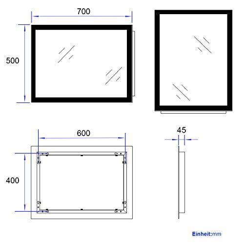 EMKE LED Badspiegel Badezimmerspiegel mit Beleuchtung Warmweissen Lichtspiegel Wandspiegel 4