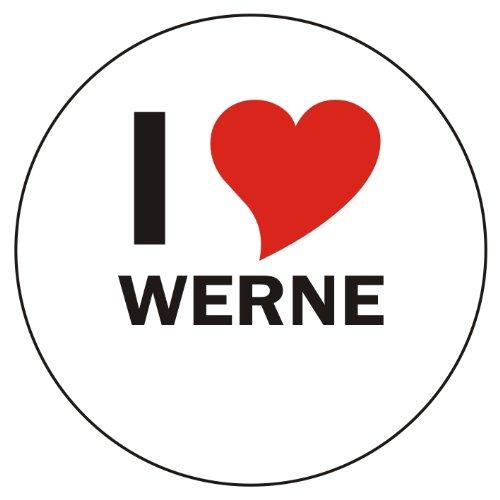Aufkleber / Sticker / Autoaufkleber - I LOVE Werne - JDM / Die cut / OEM - Auto / Heckscheibe - aussenklebend, rund, Größe: 80mm